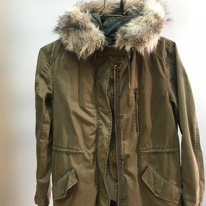 Jackets & Blazers - Zara coat with faux fur trim hoodie